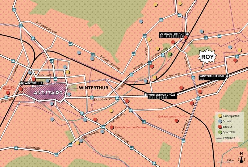Karte Winterthur-Hegi